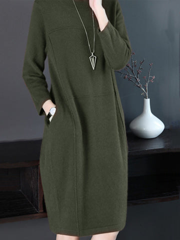 Solid Paneled Long Sleeve Pockets knitted Dress