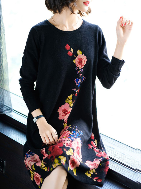 Floral Printed Long Sleeve Knitted Dress