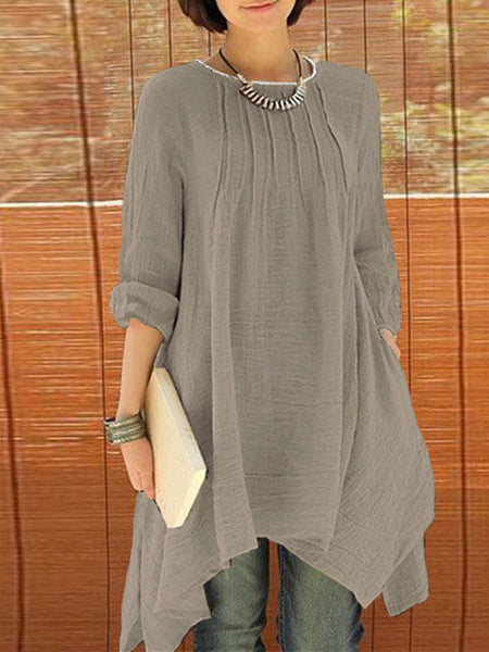 Asymmetric Solid Long Sleeve Blouse