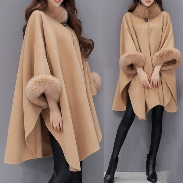 Faux Fur Collar Cape Sleeve Winter Coat