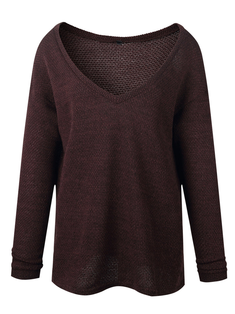Candy Color V Neck Long Sleeve Knitted Sweater