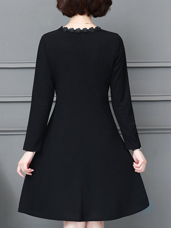 Butterfly Embroidered V Neck Long Sleeve Dress