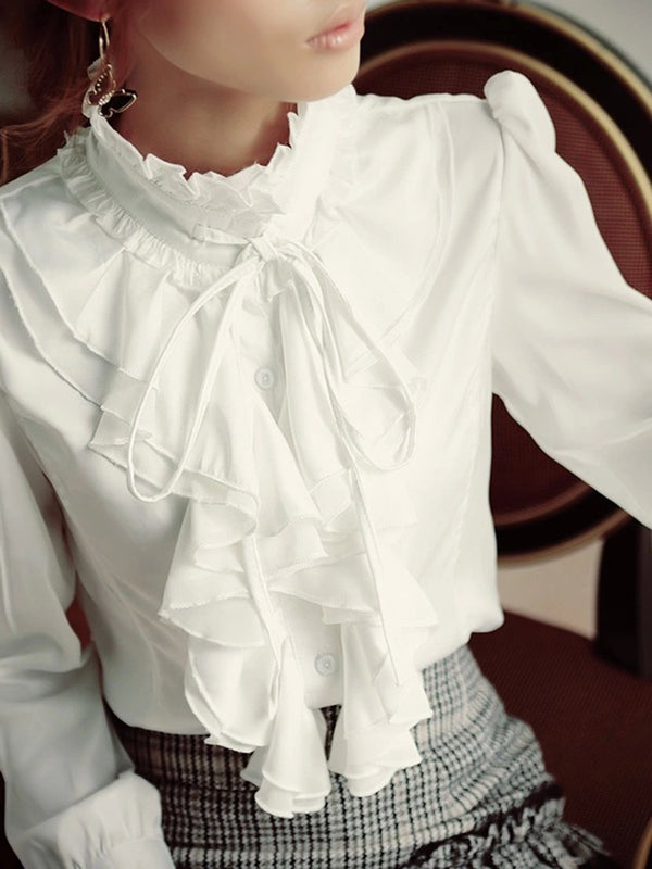 Ruffled Collar Vintage Long Sleeve Blouse