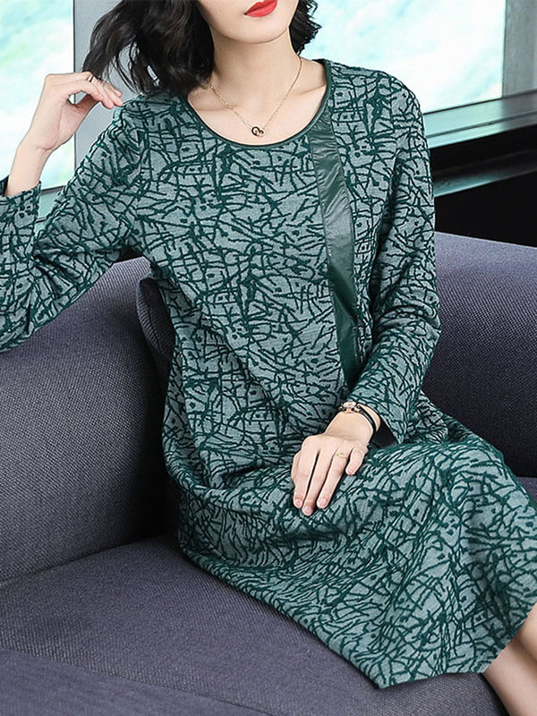 Abstract Leather Paneled Long Sleeve Dress