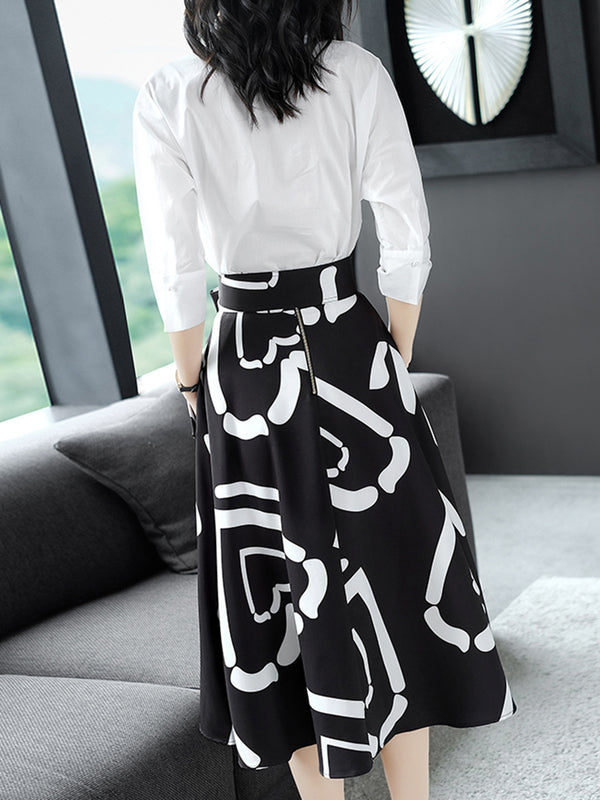 Two Pieces Abstract Printed Bow Dress