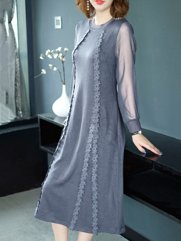 Chiffon Sleeve Elegant Knitted A Line Dress