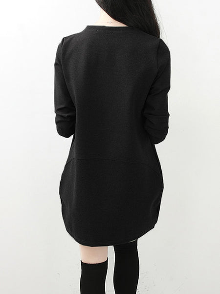 Black Letter Casual Fleece-lined Long Sleeve Printed Dress