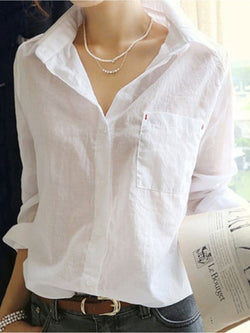 Casual Solid Long Sleeve Shirt Collar Blouse