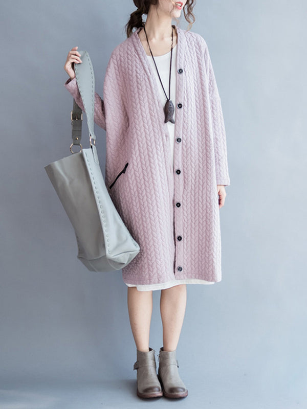 Pink H-line Embossed Casual Plain Cardigan