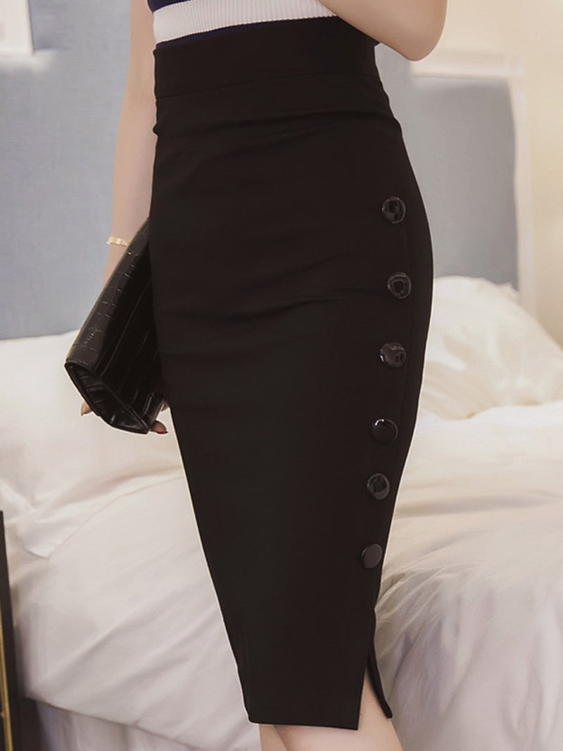 Bodycon Buttoned Elegant Plus Size Skirt