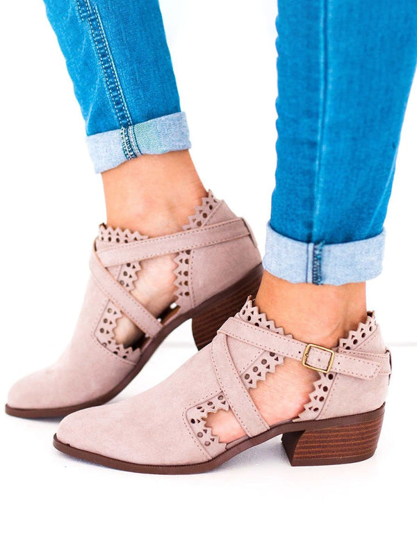 Audrey Scalloped Low Heel Hollow-out Buckle Strap Boots
