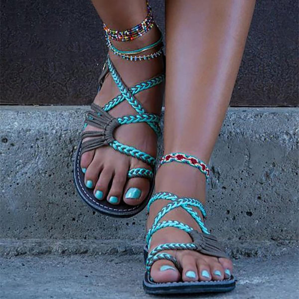 2018 Summer Handmade Breathable Bandage Beach Flat Sandals