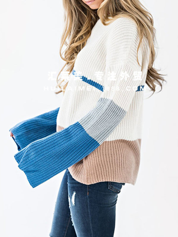 White Crew Neck Simple Basic Shift Sweater