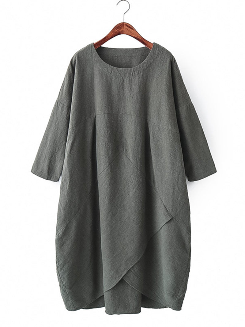3/4 Sleeve Asymmetrical Casual Solid Plus Size Linen Dress