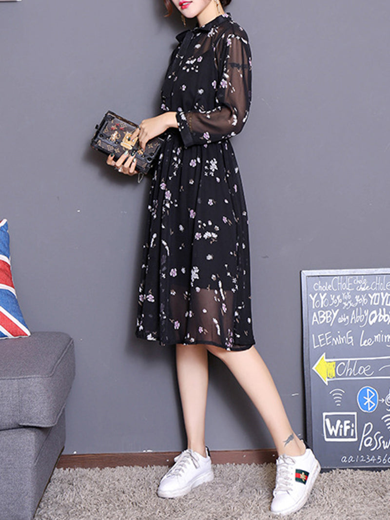 Black Elegant Two Piece Chiffon Floral Midi Dress