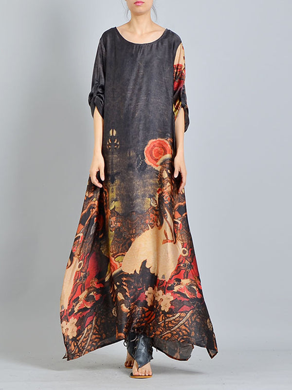 Graphic Printed Slit Crew Neck Casual Maxi Satin Dress