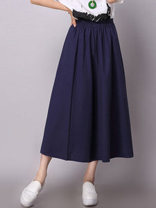 A-line Simple Shirred Linen Skirt