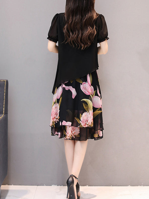 Paneled Crew Neck Chiffon Short Sleeve Floral Casual Plus Size Dress