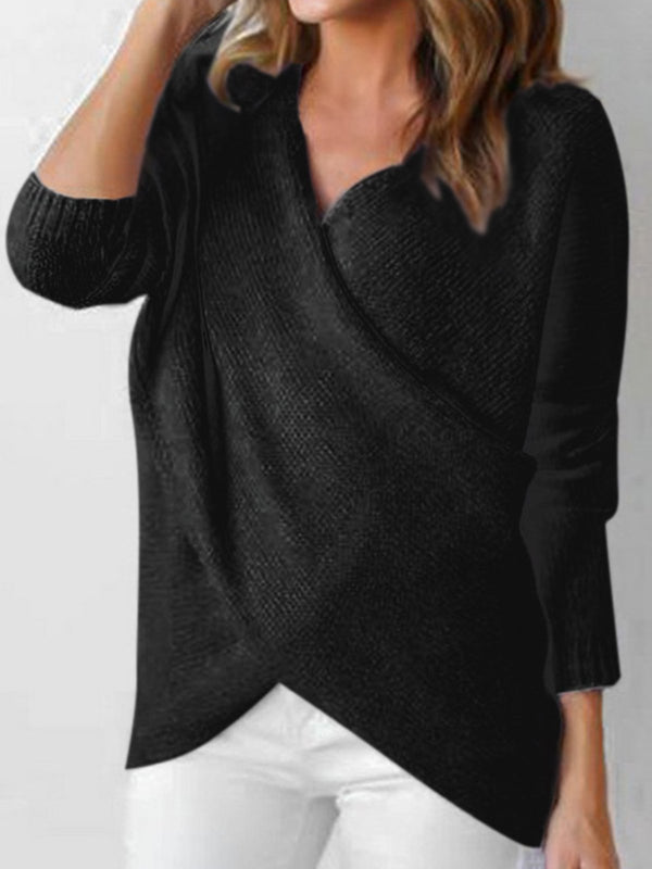 Solid Long Sleeve Knitted Sweater