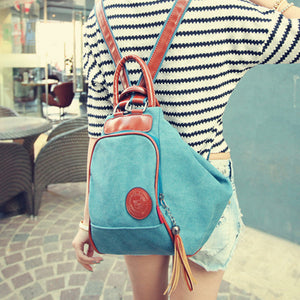 Womens Casual Zipper Canvas Tassel Shoulder Bags Backpacks