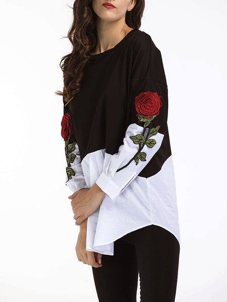 Long Sleeve Floral-embroidered Crew Neck Blouse