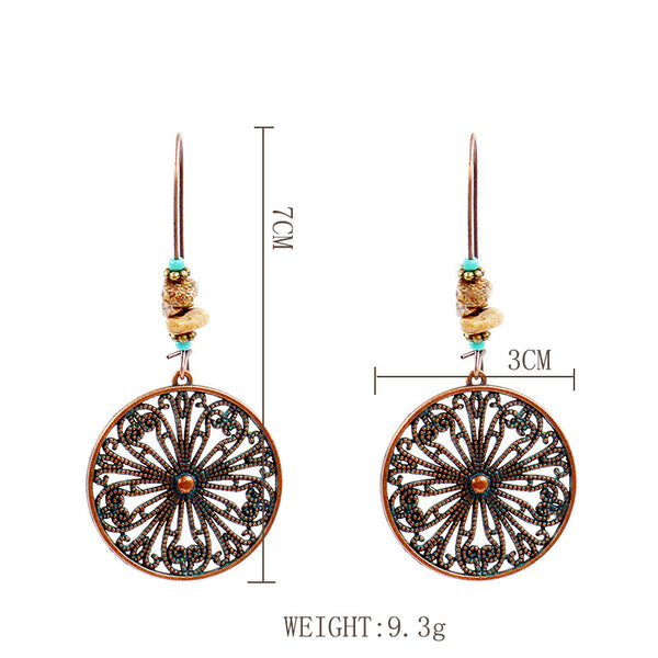 Fashion Antique Alloy Vintage Round Earrings