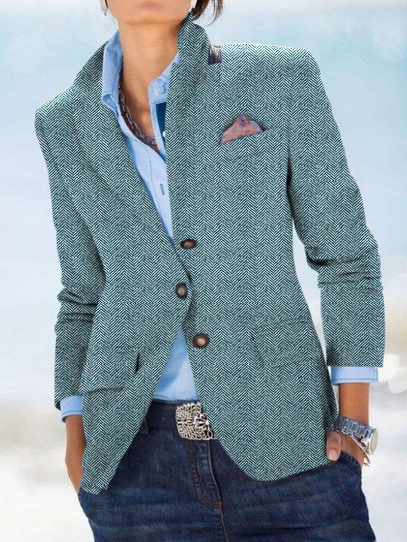 Solid Pockets Blazer Plus Size Lapel Jacket