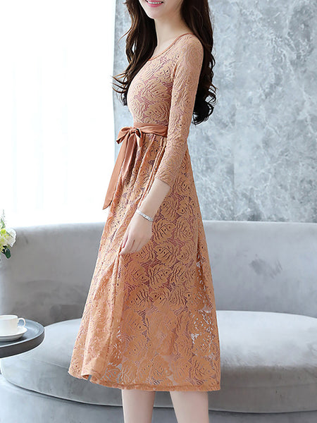 A-Line Lace Floral-Embroidered Midi Dress