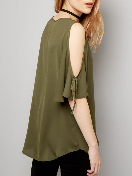 Solid Surplice Neck Plus Size Casual Chiffon Blouses