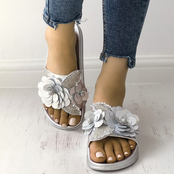 Sequins Embellished Non-Slip Flat Sandals