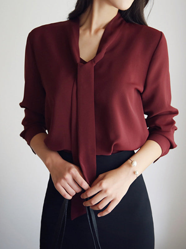 3/4 Sleeve Casual Tie-neck Chiffon Blouses