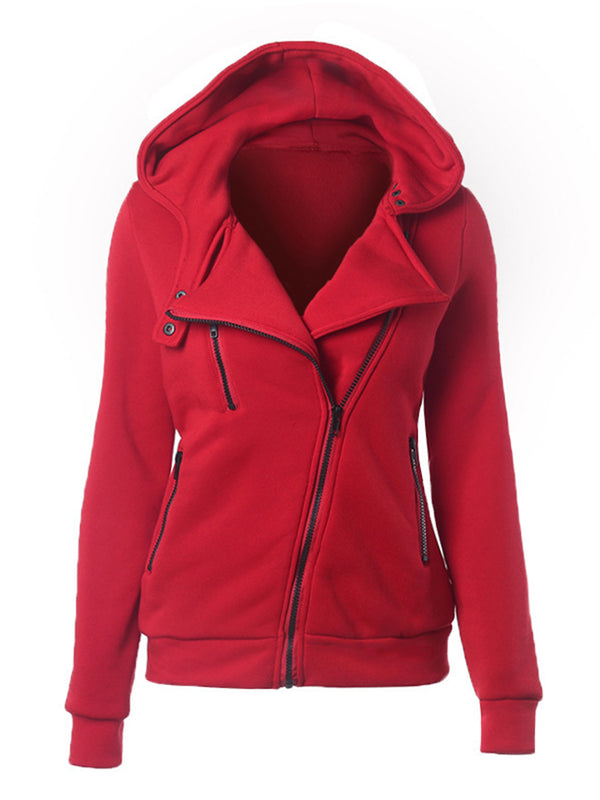 Long Sleeve Casual Solid Zipper Hoodie Coat Jacket