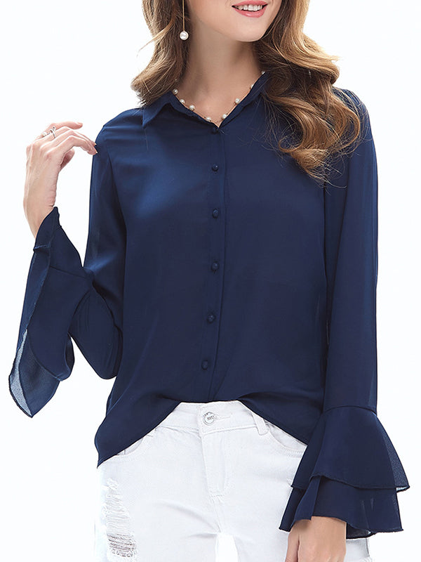 Casual Frill Sleeve Shift Chiffon Blouse