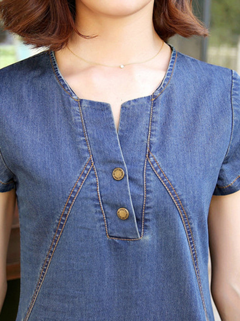 Denim Short Sleeve Casual Pockets Plus Size Dress
