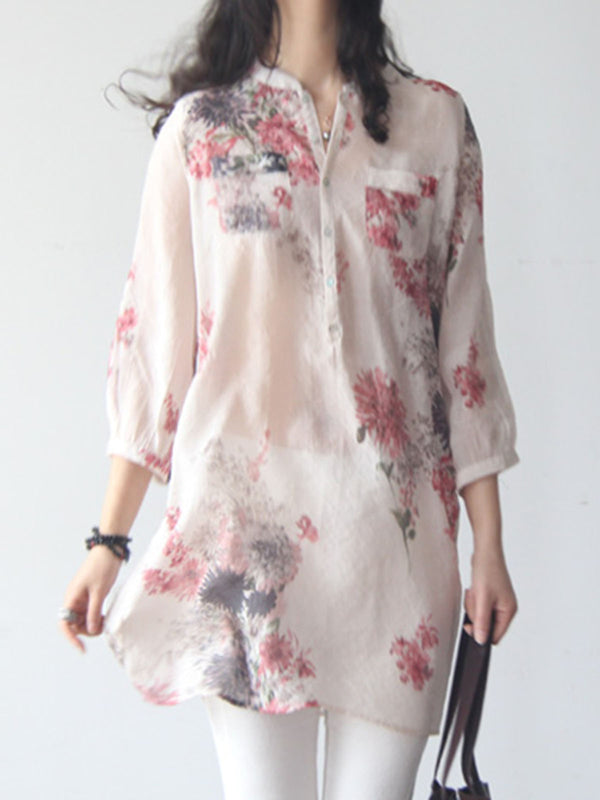 Casual 3/4 Sleeve Floral Printed Blouse