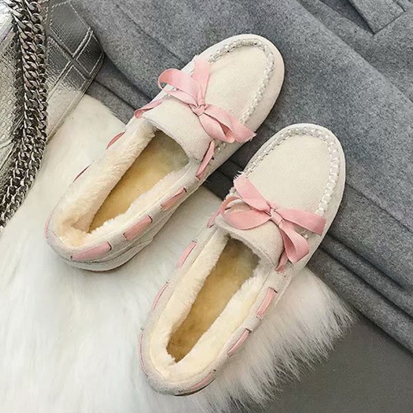 Winter Bow-knot Slip On Loafers Comfort Booties