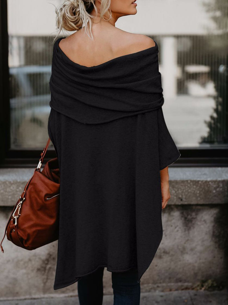 Off Shoulder Asymmetric A-line Batwing Tunic