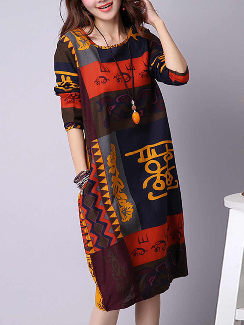 Long Sleeve Casual Crew Neck Casual Dress