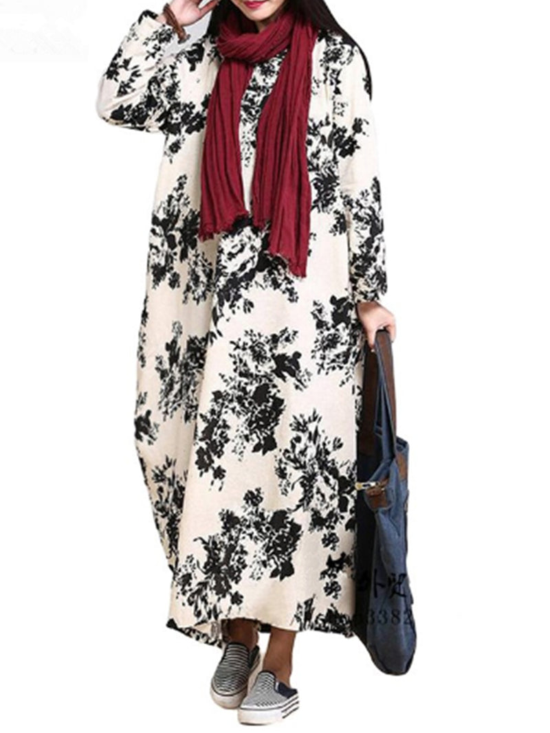 Casual Printed Cocoon Long Sleeve Plus Size Dress