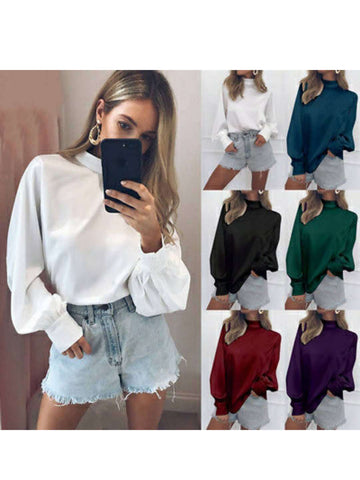 Puff Sleeve Casual Ladies Solid Color High Neck Tops Blouse
