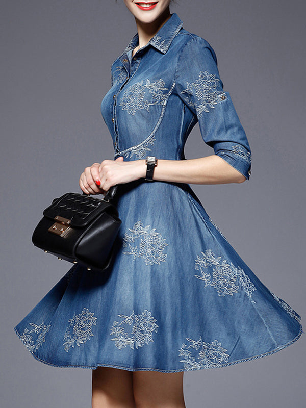 Long Sleeve Denim Casual Embroidered Dress