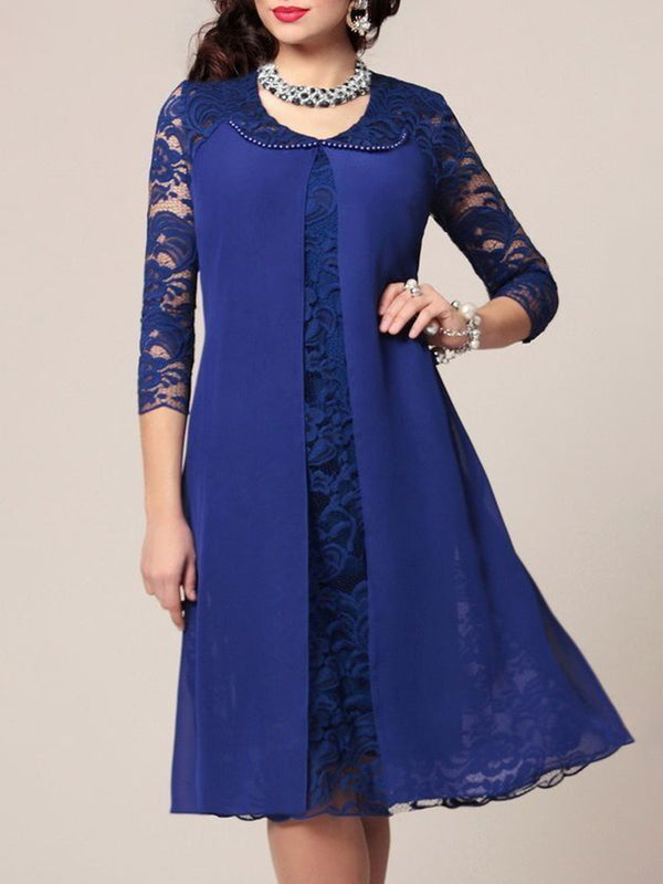 Blue Crew Neck Solid Lace Statement Casual Dress