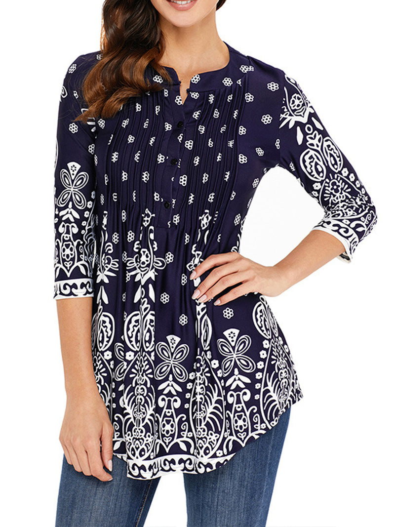 Printed Crew Neck 3/4 Sleeve Tunic