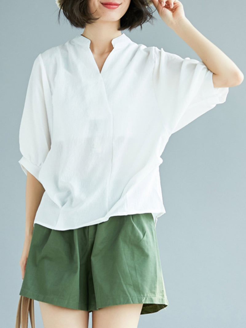 Solid Stand Collar Shift Folds Linen Casual Batwing Shirts With Buttoned