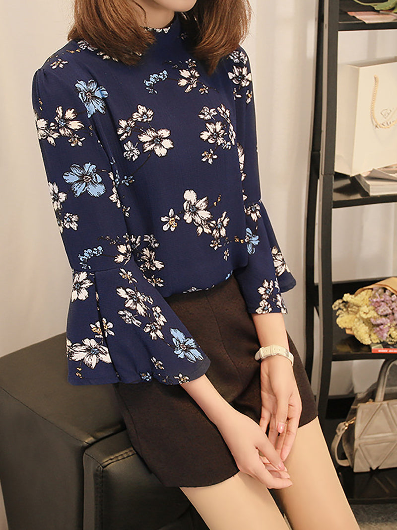 Black Chiffon Balloon Sleeve Shirt