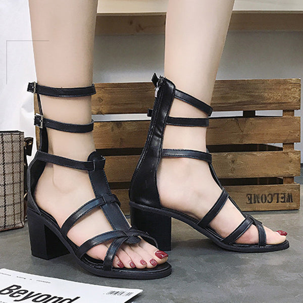 Women PU Casual Chunky Heel Gladiator Strappy Buckled Zipper Shoes