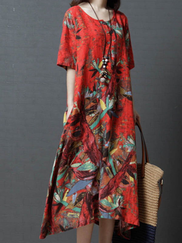 Casual Short Sleeve Crew Neck Abstract Printed Linen  Dress