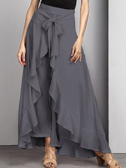 Asymmetric Ruffled Elegant Swing Solid Skirt Pants