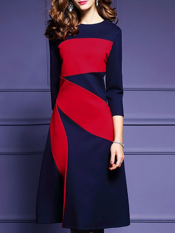 Dark Blue Polyester 3/4 Sleeve Color-block Midi Dress