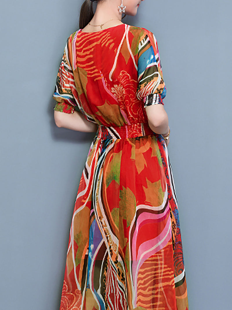 Multicolor Printed Abstract Balloon Sleeve Chiffon Midi Dress